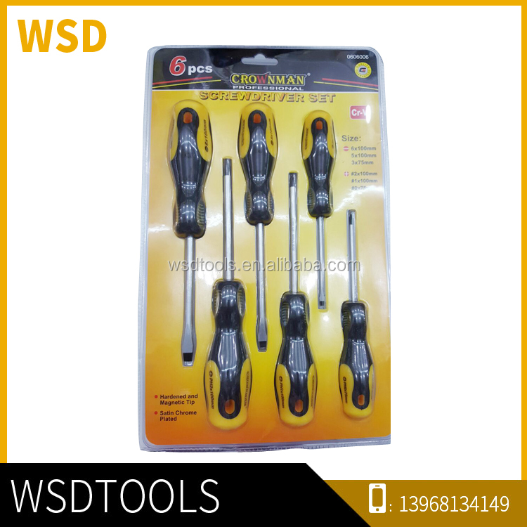Double Blister Hand Tool Slotted Screwdriver Set Magnetic Nut Driver