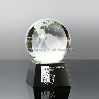 Noble Polished Carving Type crystal glass earth globe trophy with base for souvenir
