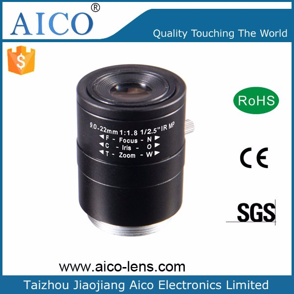 "hot sale F1.8 1/2.5"" manual iris 9-22mm megapixel varifocal lens for cctv"