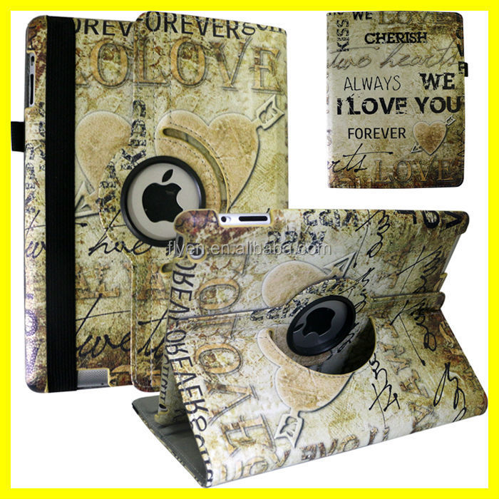 Cupid Arrow Love Heart Pattern PU Leather Rotating Case 360 for ipad air mini 1/2/3/4 Custom Printing image DIY Sublimation Case