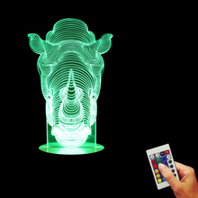 Illusion Animal Rhino 3D Effect 16 Colors Changing For Children Birthday gift Home Decoration LED Night Light