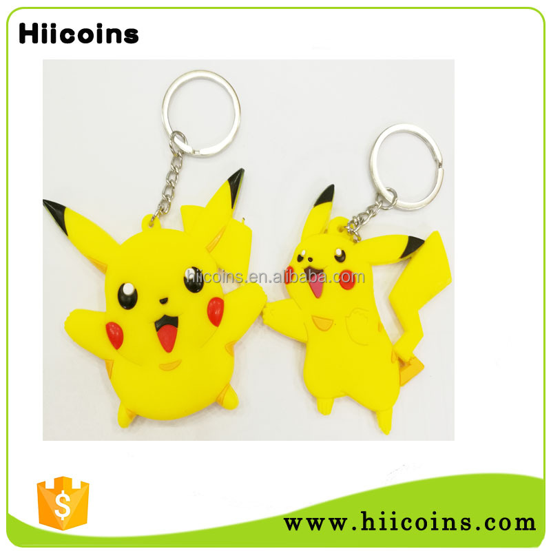 Kids party gifts cute 3D soft pvc pokemon keychain