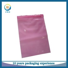 Pink LDPE resealable zip lock antistatic bag reclosable plastic packing bag