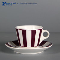 purple straight line pattern durable china coffee cup and saucer ceramic