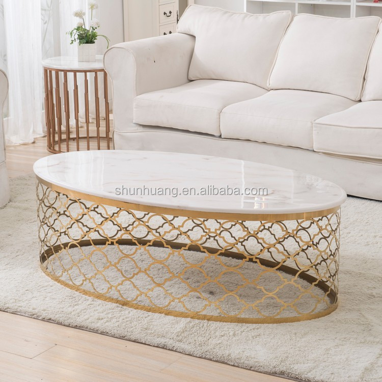 Hot sale stainless steel marble top coffee table round white coffee table