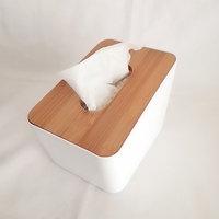 Promotion Cheap Nordic Style White Rectangular Napkin Packing Paper Box with Bamboo Cover