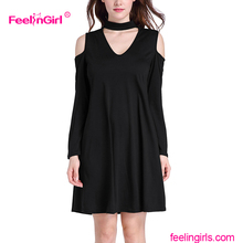 Wholesale Cold Shoulder Halter Neck Women Sex Black Sheer Dress