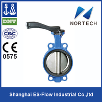 2014 High Quality Double Flange cast iron full lug type butterfly valve