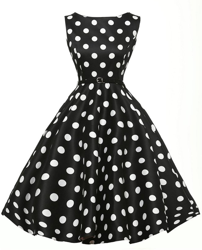 Onen new arrival Fashionable Retro style Knee Length Big Polka Dots Vintage 50s dress Plus Size