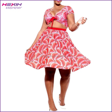 Solid Color Sexy Pink Two-Piece Dresses Plus Size for Women with Bow