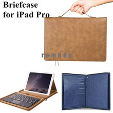 For iPad Pro 12.9 Inch Portfolio Series Tablet PC Genuine Leather Case Cover with Stand Auto Wake/ Sleep Function