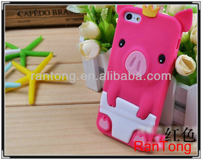2014 hot selling cute animal design Silicone Case for iphone 4S case ,any models can make