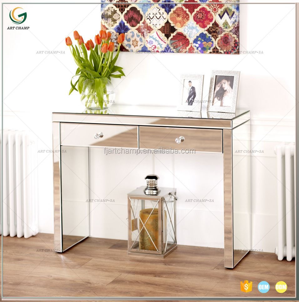 Mirrored Furniture Glass Dressing Table With Drawer Console Bedroom