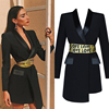 2019 SS new arrived Long sleeve black Cotton Blazer with letter belt women boutique coat instock wholesale A2775