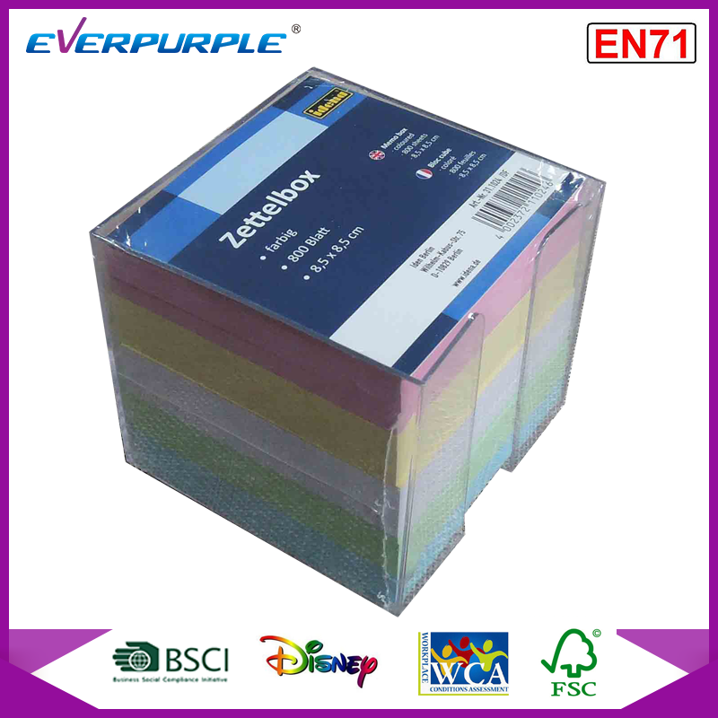 Color paper memo block, memo cube in plastic box