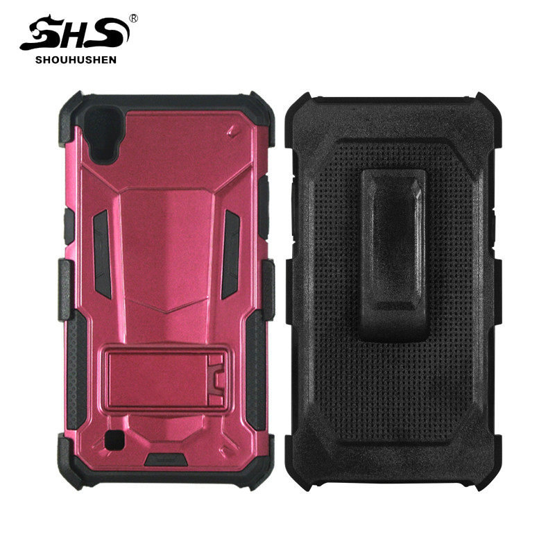 SHS Shockproof Kickstand TPU PC Hybrid Cell Phone Case With Belt Clip for Alcatel Fierce4