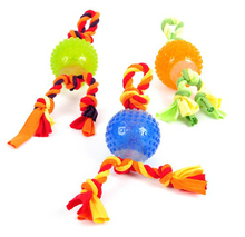 High Quality Pet Products Mix Color Rope Squeaky Ball Rubber Dog Toy