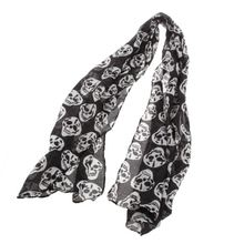 Fashion Scarf Women Big Skull Head Scarf Skeleton Soft Long Shawl Silk Scarf Wrap Stole
