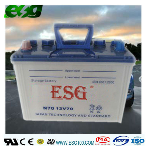 Automotive battery/dry/ DRY N70 12V70AH/lead acid battery