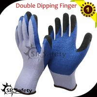 SRSAFETY Latex dipped string knit gloves, cotton gloves double coated latex