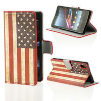 US PU Leather Printed Side Flip cover for Sony Xperia Z2