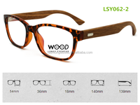 2014 fashion design optics bamboo reading glasses with plastic frame wooden temples custom logo free