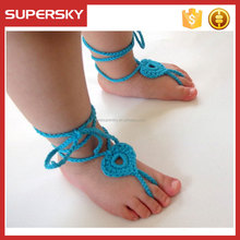 K813 Handmade Knit Flowers Barefoot Sandals Wedding Bridal Knit Foot Chain Barefoot Sandals