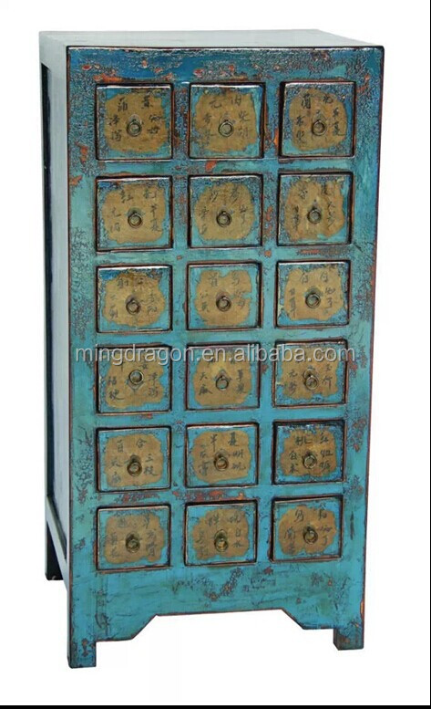 Antique Chinese Distressed Solid Wood Medicine Cabinet