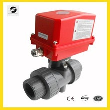 PVC Double Union ball valve with electric operated 2 inches 50mm