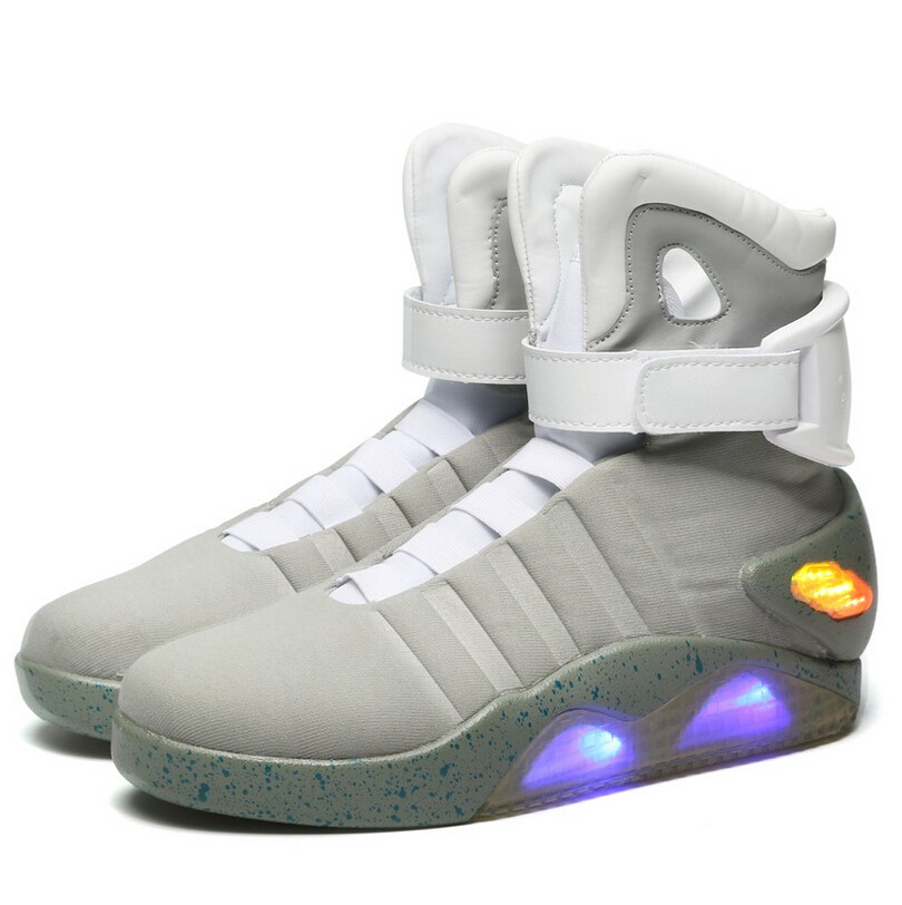 High quality led sports shoes,Back to future movie led high top sports shoes China factory wholesale