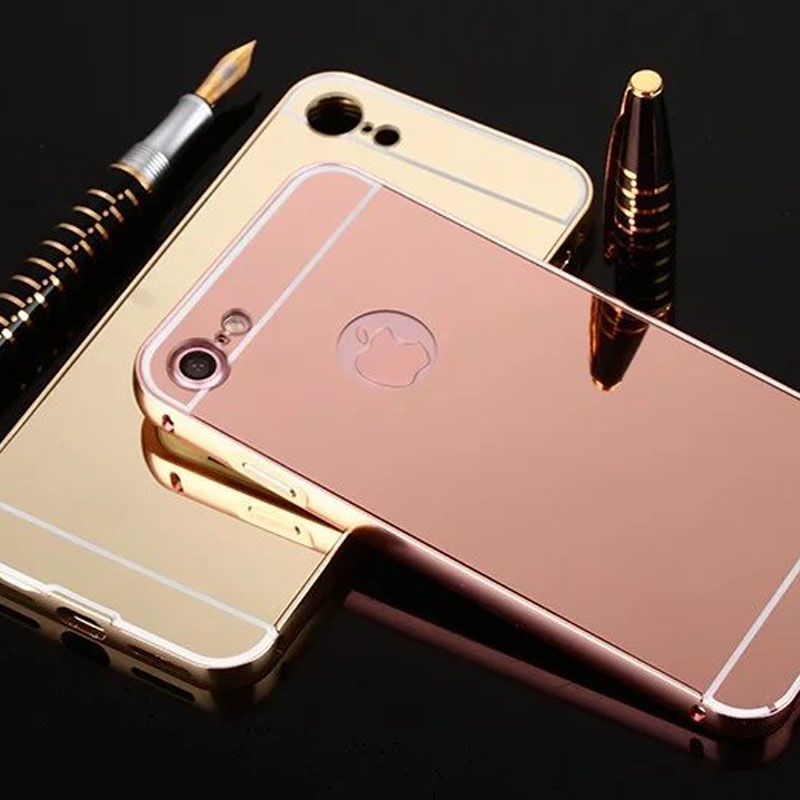 luxury metal aluminum frame bumper mirror custom cover for iphone 7 for iphone case unique