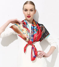Silk satin square lady scarf