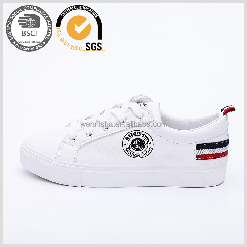 Lastest micro leather fashion sneaker lace-up white casual <strong>shoes</strong> wholesale for women