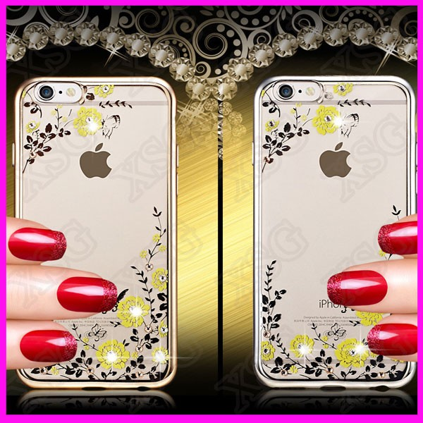 Hot sale Luxury Glitter Bling Diamond Crystal soft gel tpu Cell Phone case cover for iPhone 6