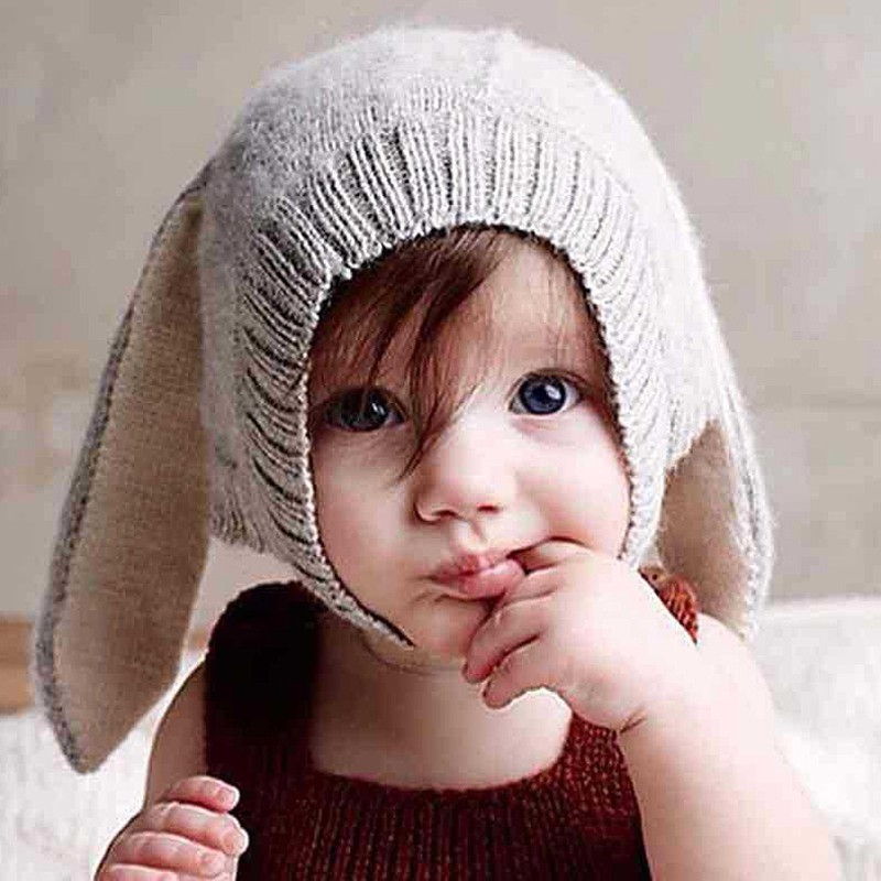 Knitted Hat Kids Christmas winter hats and caps rabbit ears cap for children SZWRJJ014