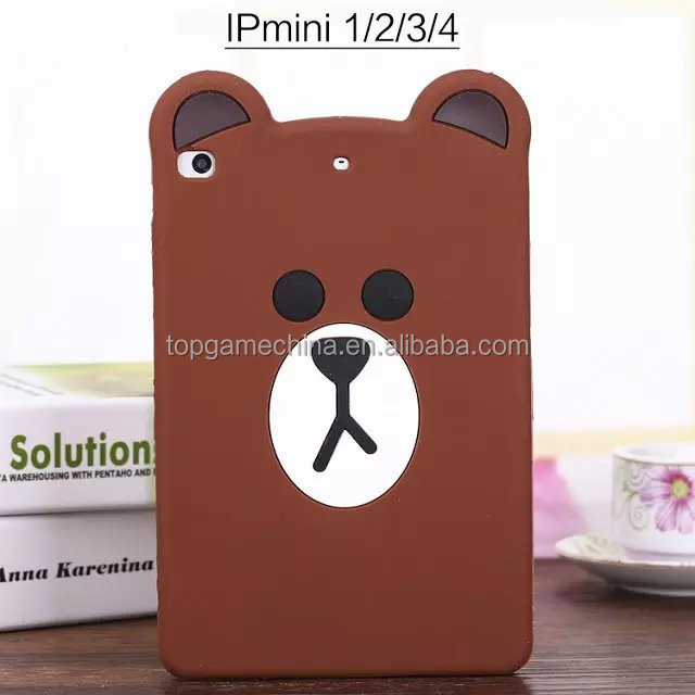 Cute Brown Bear Silicone Cover Case For iPad Mini 1234