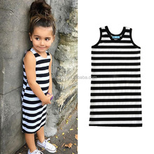 2017 Top Quality Children Stripe Patterns Dresses Sleeveless Patchwork One Piece Baby Girl Dress