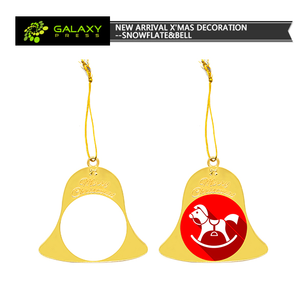 High quality sublimation blank bell metal Ornament for Christmas Tree