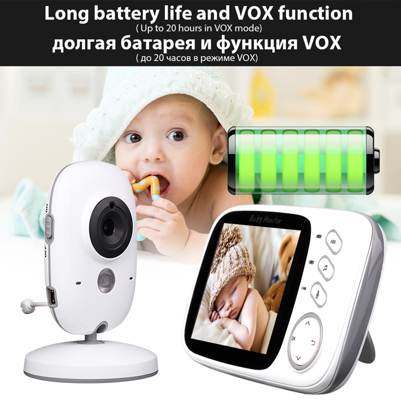 2.4GHz 3.2inch LCD Display Wireless Infant Video Monitor with Night Vision Temperature Monitoring Camera VB603 Baby Monitor
