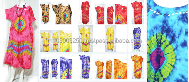 vintage retro thai style HIPPIE BOHO tie dye handmade lattice top kaftan maxi dress