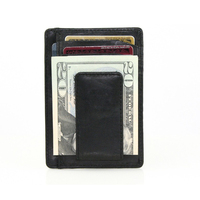 Slim Leather Magnetic Money Clip with Card Case