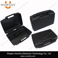 17 inches long portable plastic handle carrying case with custom PU foam tray for electronic products