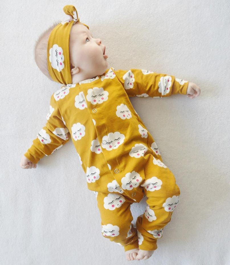 Wholesale spanish baby clothes smiled cloud printed ginger colour icing rompers