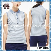 Multicolor Stripe Polo Shirts Womens Running