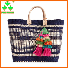 handmade woven market straw shopping beach bag with tassel charms