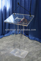 2016 factory directly customized clear acrylic church pulpit / transparent plexiglass podium pulpit lectern
