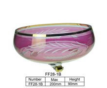 round fruit glass bowl with three stand /salad bowl/hand painting glass bowl with 100% purity gold