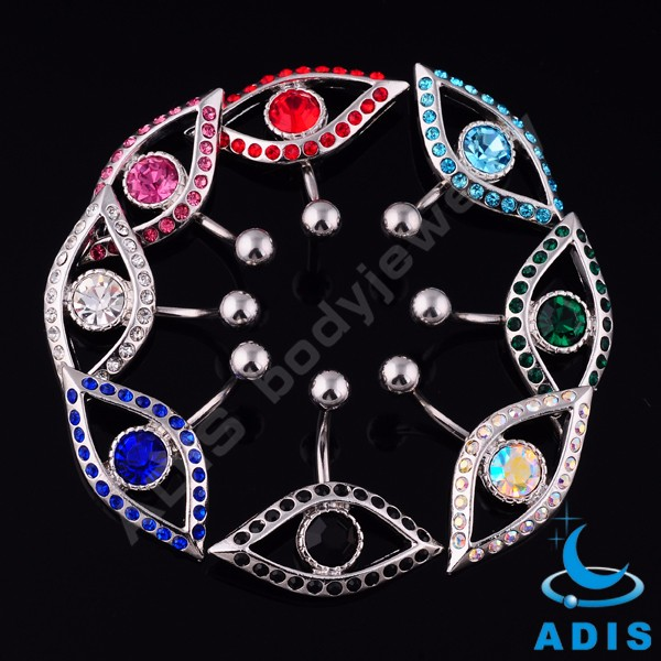 2016 personalized belly button jewelry stainless steel belly ring with crystal eye