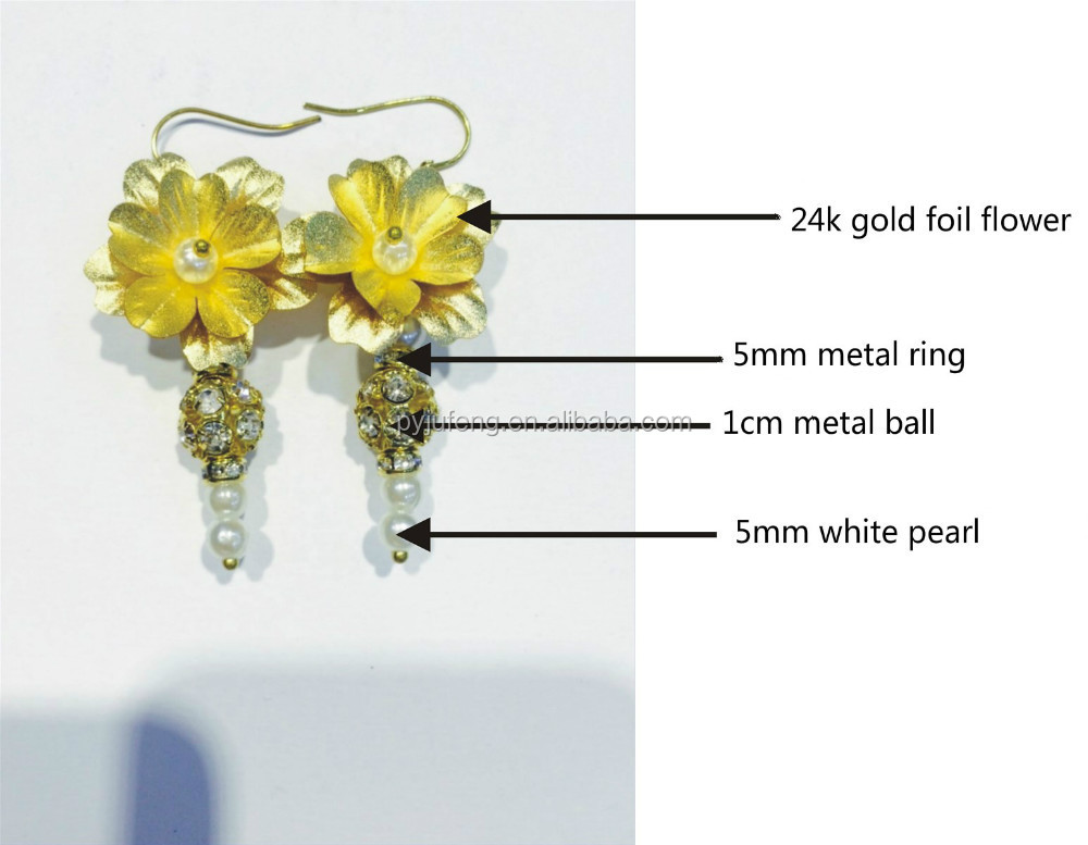 real gold foil sakura flower earring with diamond and peal DIY fashion design