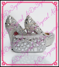 Aidocrystal white rhinestone red sole shoes with matching bags handmade wedding shoes